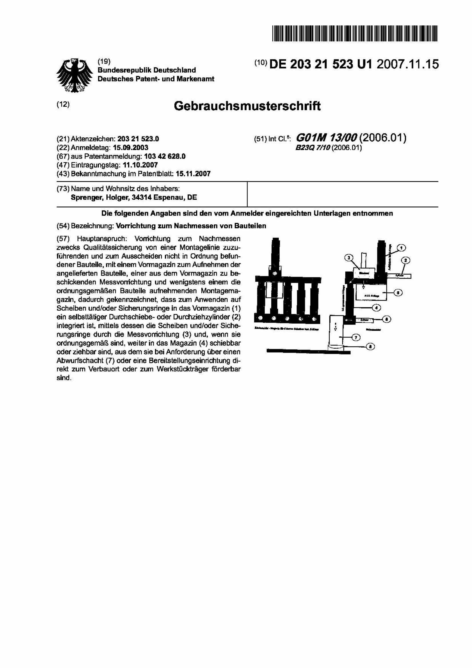 Vorrichtung zum Nachmessen von Bauteilen - Holger Sprenger